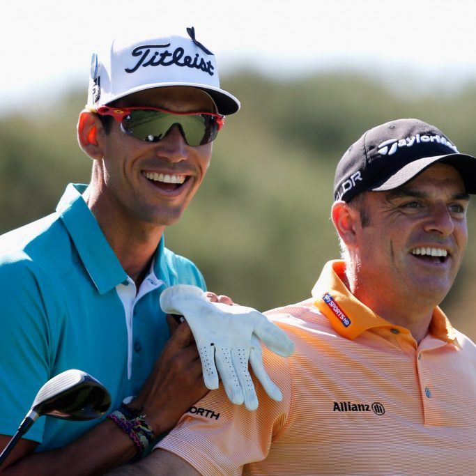 GIRONA, SPAIN - MAY 15:  Rafael Cabrera-Bello (L) of Spain and Paul McGinley of Ireland share a joke and have a laugh on the 14th hole during Day 1 of the Open de Espana held at PGA Catalunya Resort on May 15, 2014 in Girona, Spain.  (Photo by Dean Mouhtaropoulos/Getty Images)